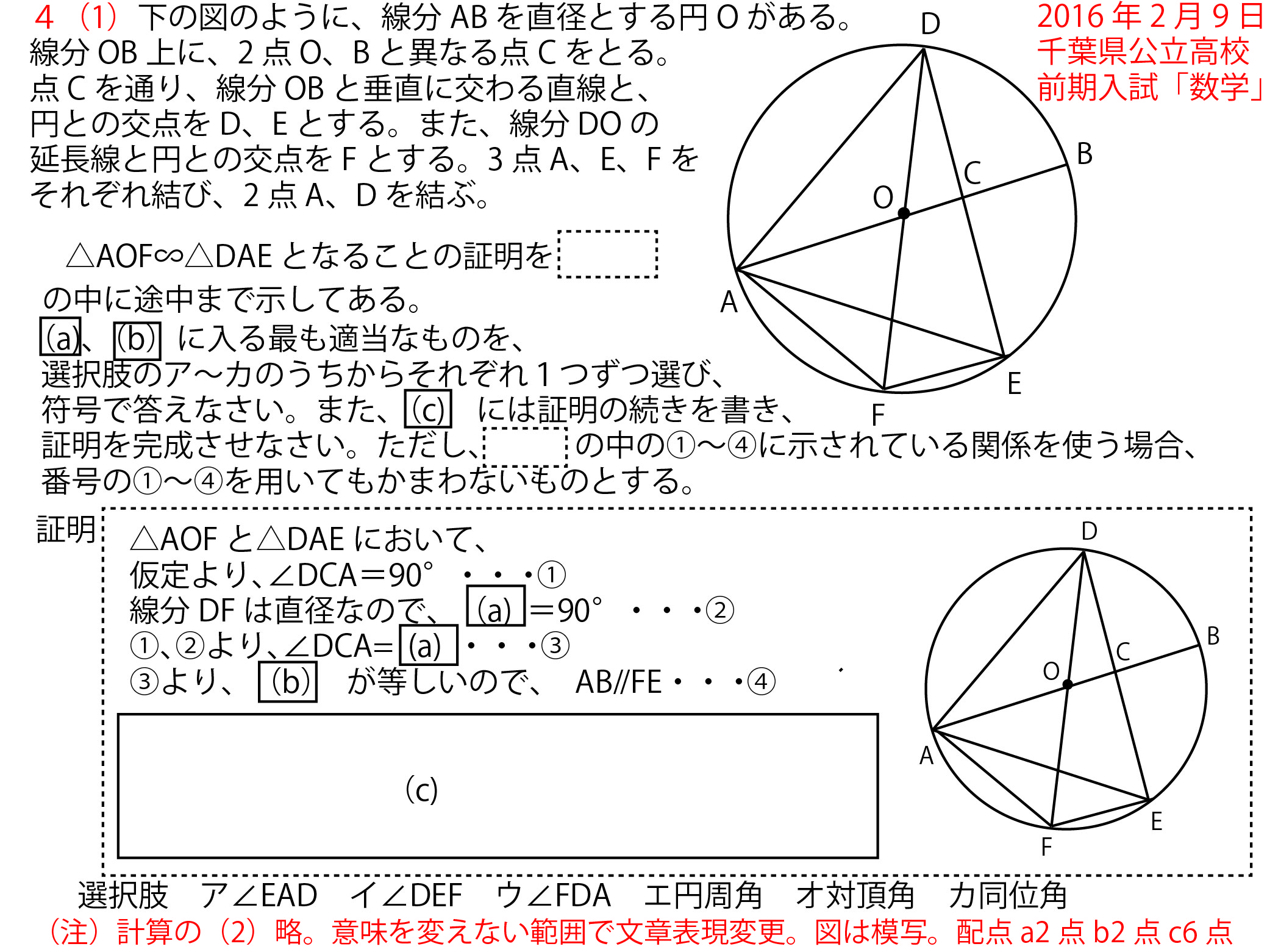 2016年2月9日火千葉県公立高校前期入試41図形の